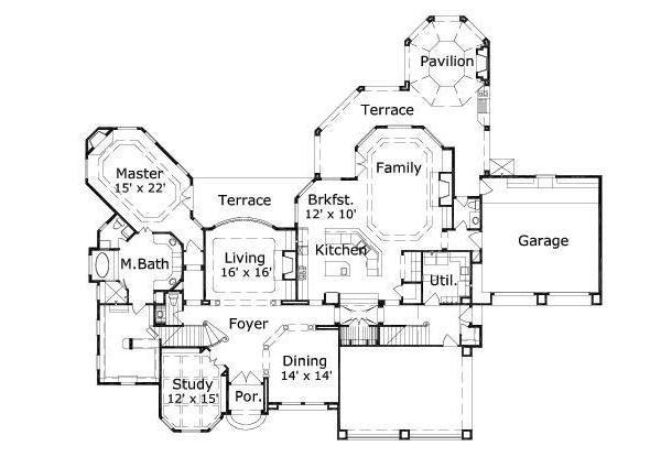 European Floor Plan - Main Floor Plan Plan #411-288