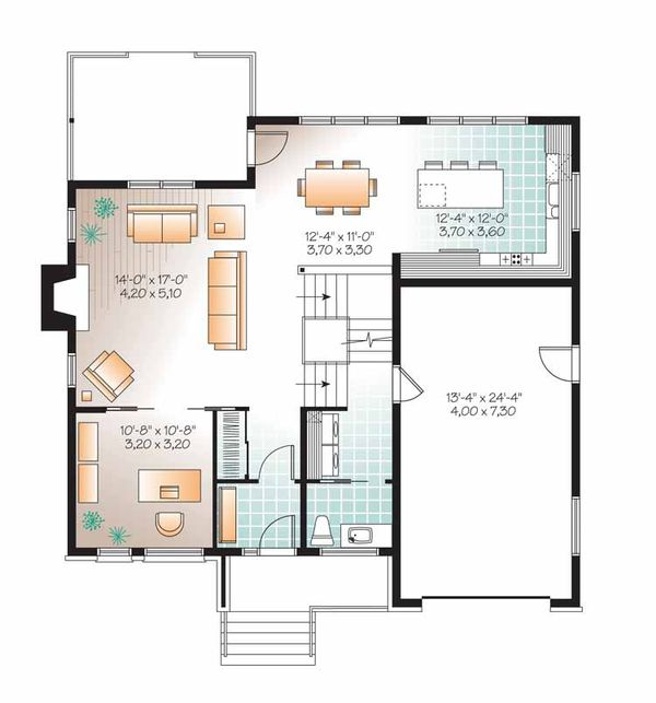 Contemporary Floor Plan - Main Floor Plan Plan #23-2545