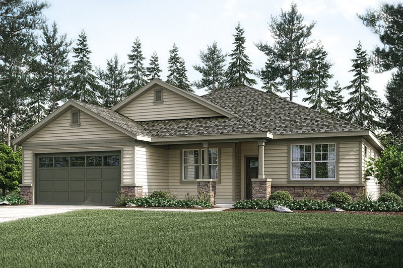Ranch Exterior - Front Elevation Plan #124-1029