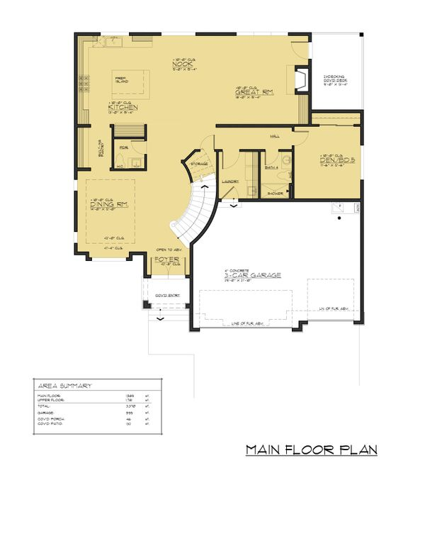 Contemporary Floor Plan - Main Floor Plan Plan #1066-57
