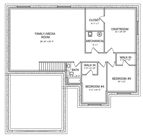 Ranch Floor Plan - Lower Floor Plan Plan #1060-14