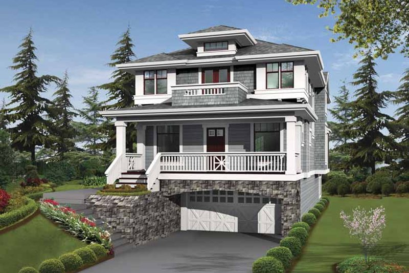 Prairie Exterior - Front Elevation Plan #132-364