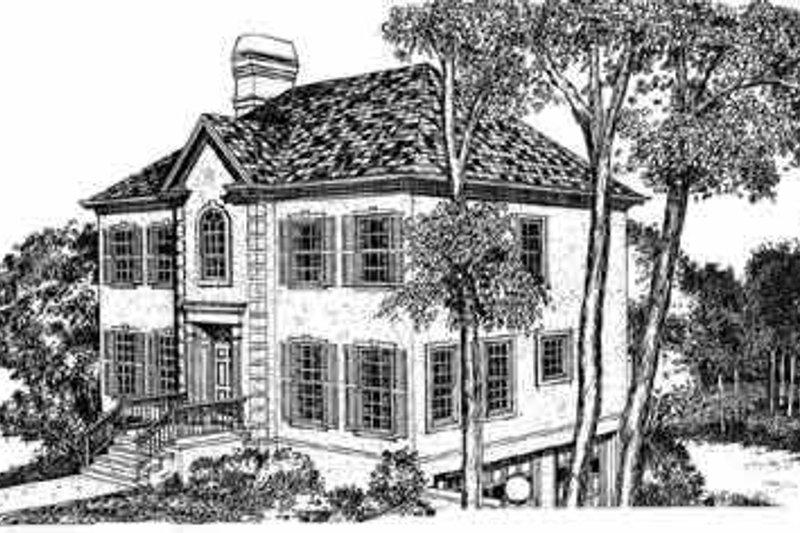 House Blueprint - European Exterior - Front Elevation Plan #72-393