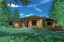 Architectural House Design - Prairie Exterior - Front Elevation Plan #48-293