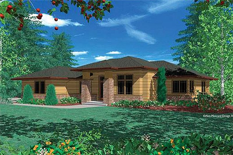Architectural House Design - Prairie Exterior - Front Elevation Plan #48-293