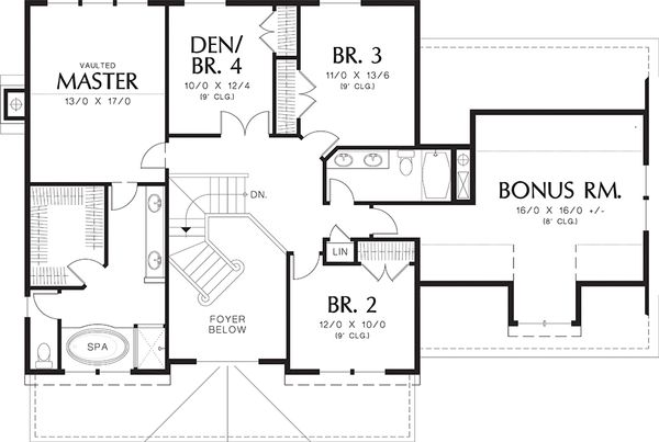 Farmhouse Floor Plan - Upper Floor Plan Plan #48-105