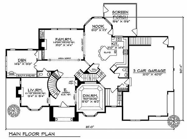 European Floor Plan - Main Floor Plan Plan #70-535