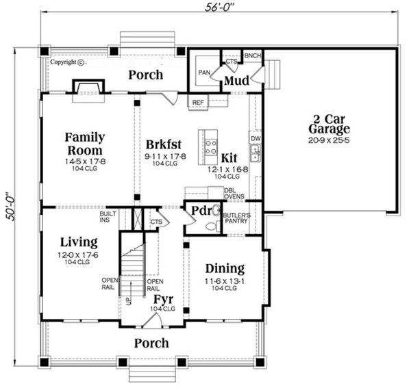 Bungalow Floor Plan - Main Floor Plan Plan #419-284