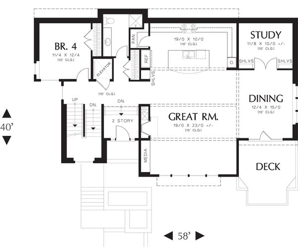 Modern Floor Plan - Main Floor Plan Plan #48-613