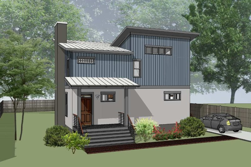 Modern Exterior - Front Elevation Plan #79-296