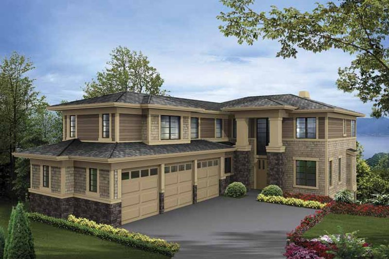 Prairie Exterior - Front Elevation Plan #132-518 - Houseplans.com