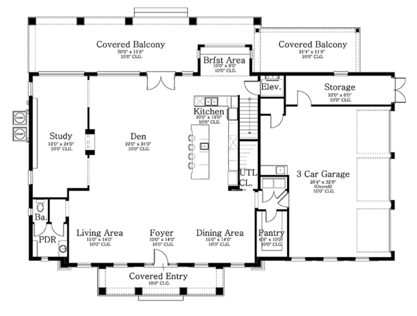 Classical Floor Plan - Main Floor Plan Plan #1058-83