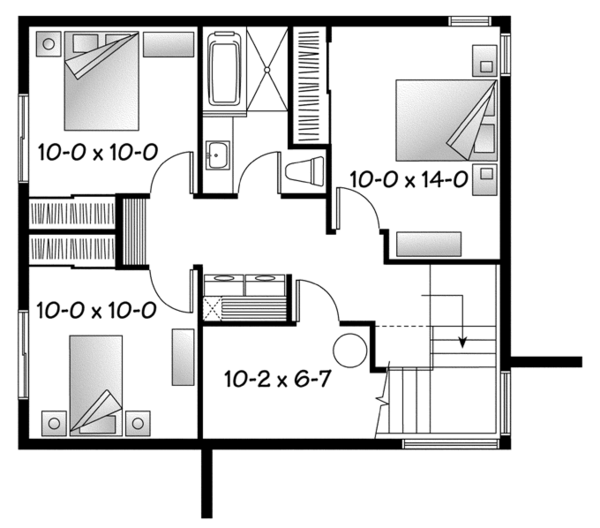Contemporary Floor Plan - Lower Floor Plan Plan #23-2537