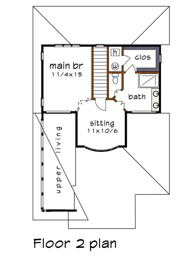 Modern Floor Plan - Upper Floor Plan Plan #79-302