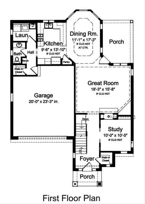 European Floor Plan - Main Floor Plan Plan #46-487