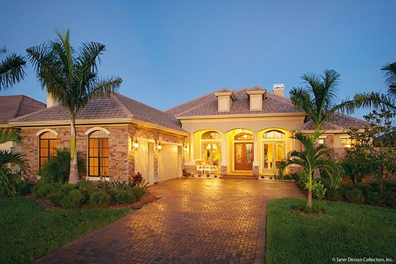Home Plan - Mediterranean Exterior - Front Elevation Plan #930-23