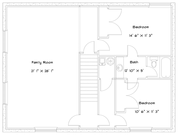 Cabin Floor Plan - Lower Floor Plan Plan #1060-24