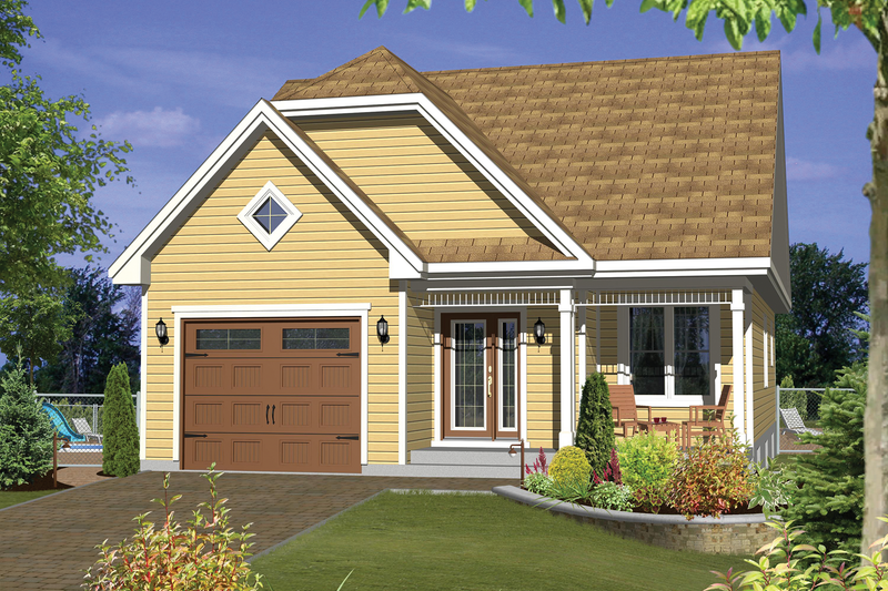 Country Style House Plan - 2 Beds 1 Baths 1051 Sq/Ft Plan #25-4541 Exterior - Front Elevation