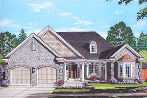 Colonial Exterior - Front Elevation Plan #46-866