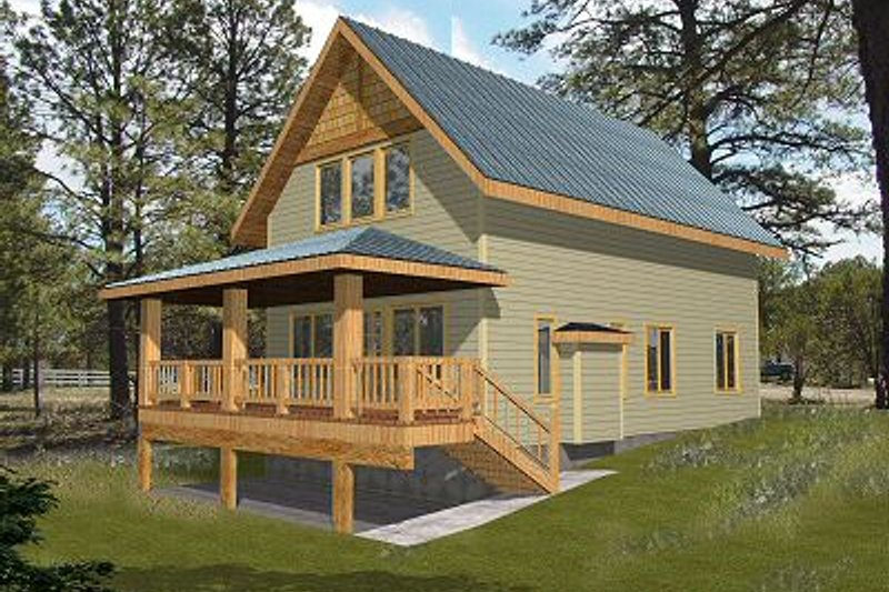 Bungalow Style House Plan - 1 Beds 1 Baths 1140 Sq/Ft Plan #117-543