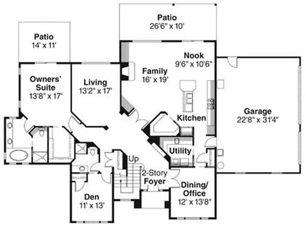 European Floor Plan - Main Floor Plan Plan #124-742