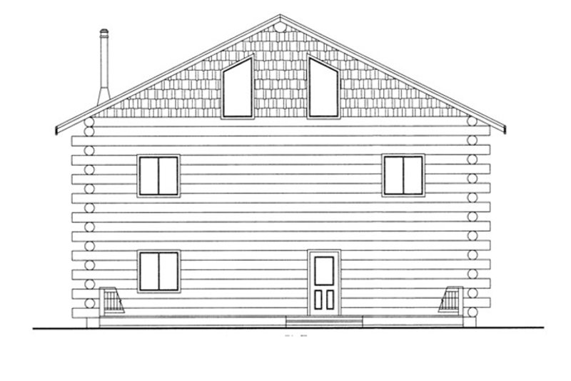 Log Exterior - Rear Elevation Plan #117-822 - Houseplans.com