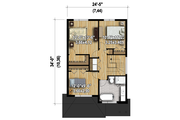 Contemporary Style House Plan - 3 Beds 1 Baths 1377 Sq/Ft Plan #25-4377 Floor Plan - Upper Floor