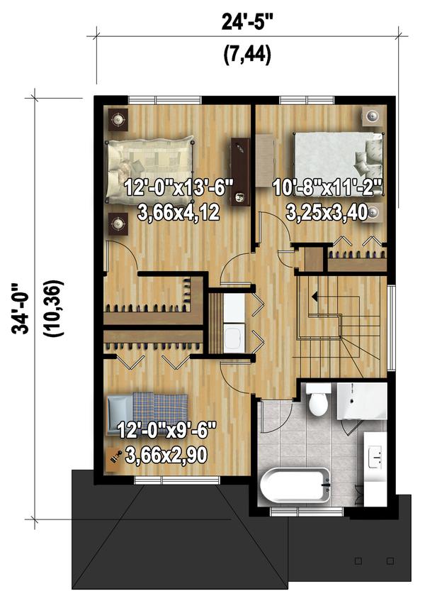 Contemporary Floor Plan - Upper Floor Plan Plan #25-4377