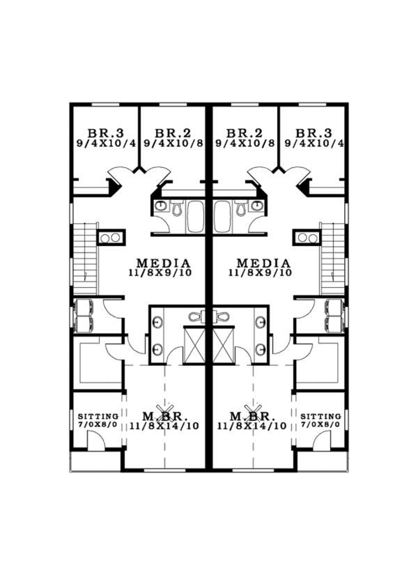 Craftsman Floor Plan - Upper Floor Plan Plan #943-38