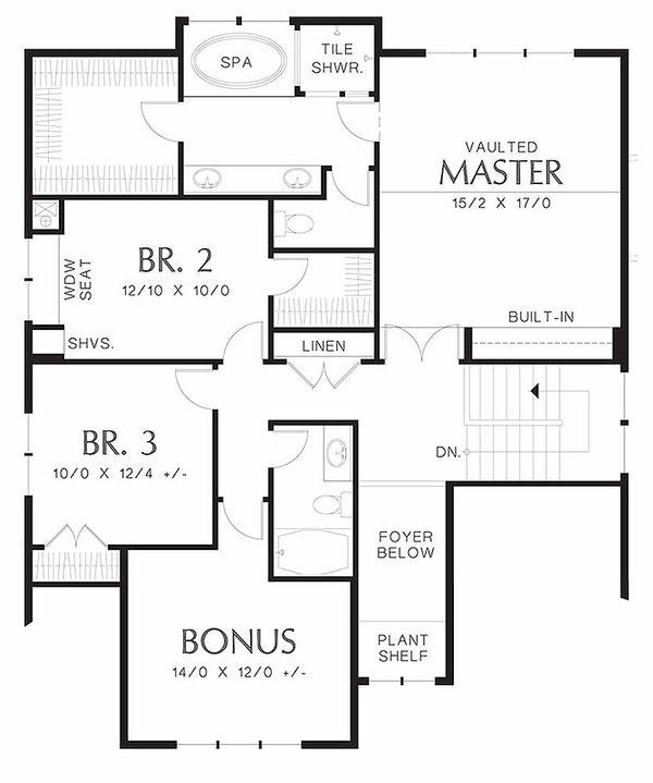 Craftsman Floor Plan - Upper Floor Plan Plan #48-458