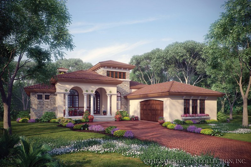 Mediterranean Style House Plan - 3 Beds 2.5 Baths 2191 Sq/Ft Plan #930-12 Exterior - Front Elevation
