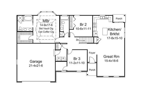 Architectural House Design - Craftsman Floor Plan - Main Floor Plan #57-657