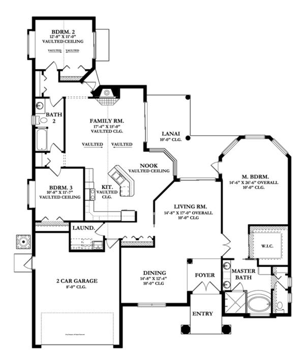 Mediterranean Floor Plan - Main Floor Plan Plan #1058-42