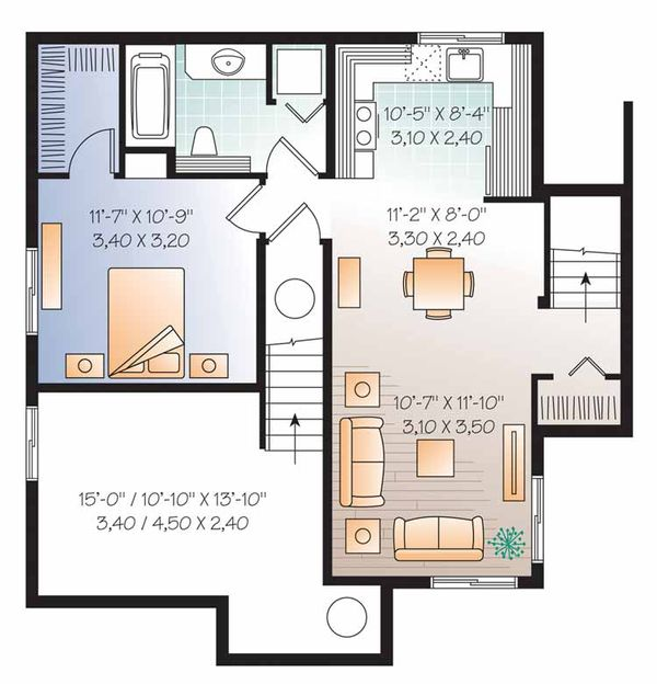 Country Floor Plan - Lower Floor Plan Plan #23-2503
