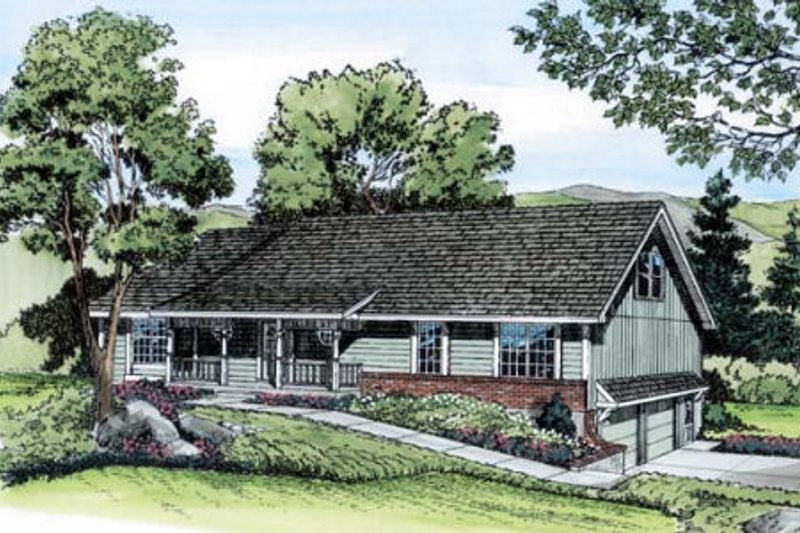 Ranch Style House Plan - 4 Beds 2.5 Baths 2366 Sq/Ft Plan #312-289 Exterior - Front Elevation