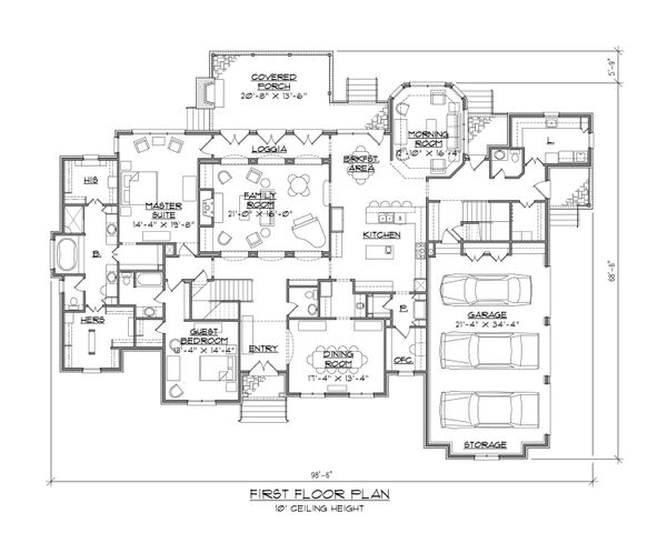 European Floor Plan - Main Floor Plan #1054-56