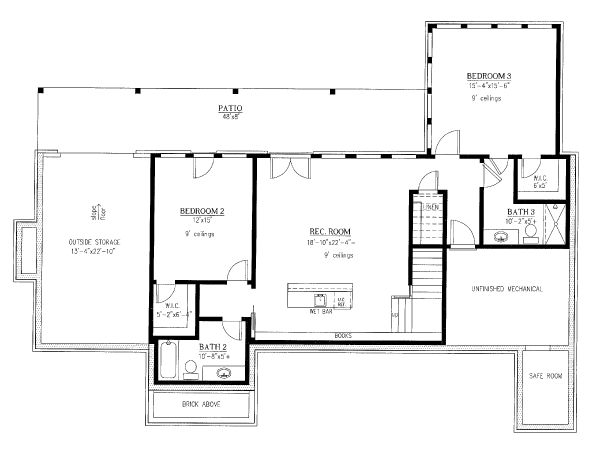 Craftsman Floor Plan - Lower Floor Plan Plan #437-112