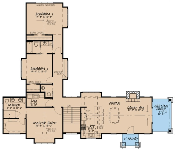 Craftsman Floor Plan - Main Floor Plan Plan #923-73