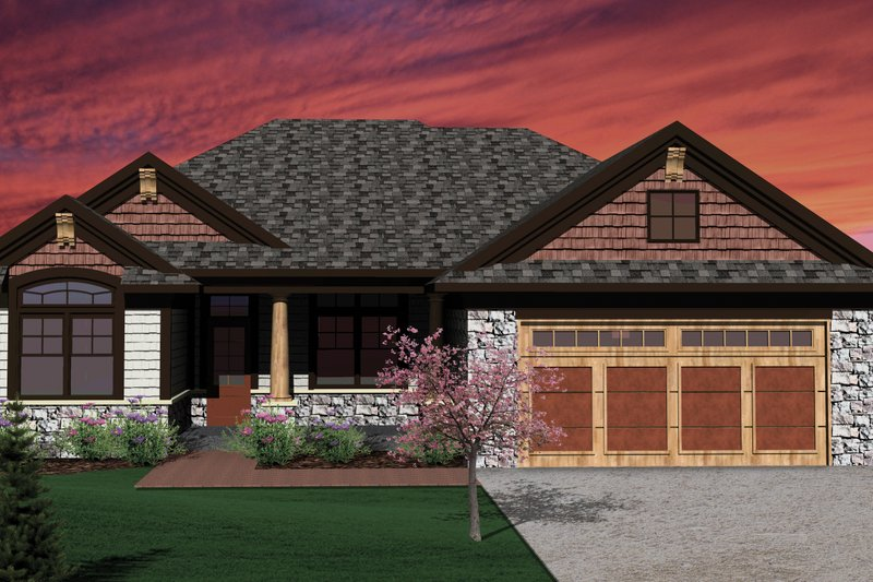 Ranch Exterior - Front Elevation Plan #70-1071