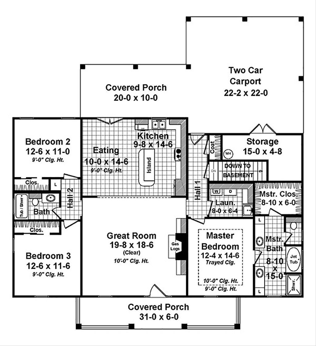 Country style house plan 3 beds 2 baths 1658 sq ft plan for H and h homes floor plans