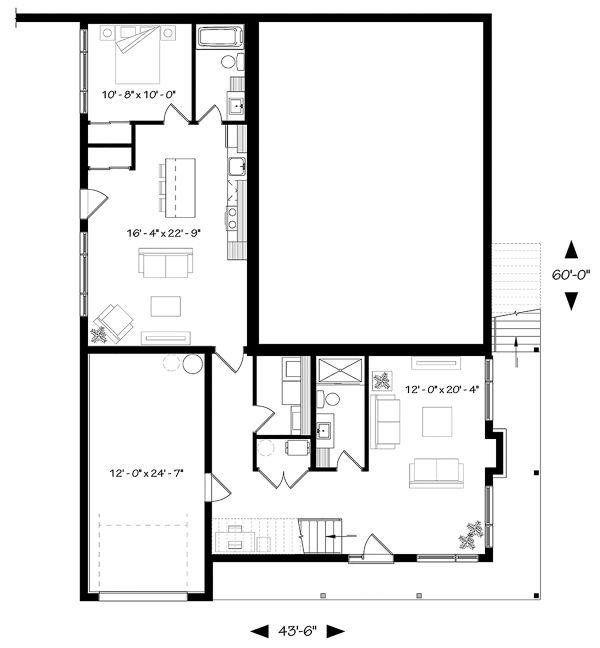 Contemporary Floor Plan - Lower Floor Plan Plan #23-2314