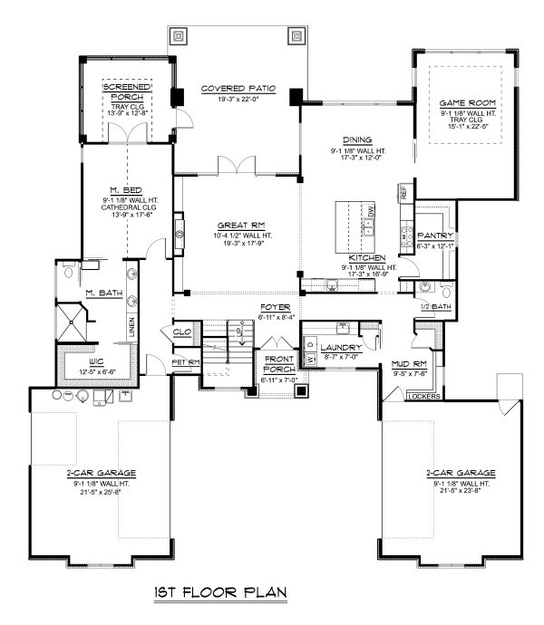 Modern Floor Plan - Main Floor Plan Plan #1064-19