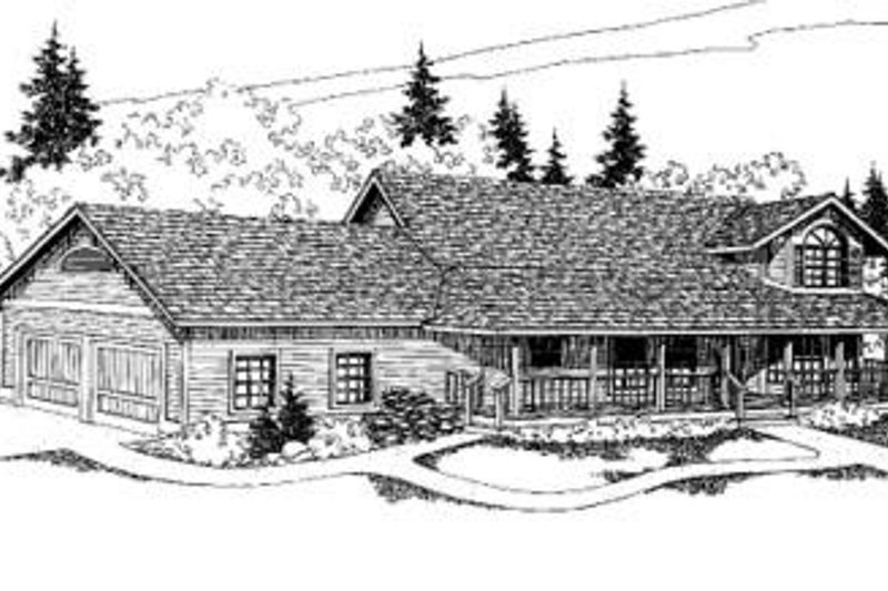Ranch Style House Plan - 3 Beds 3 Baths 2488 Sq/Ft Plan #60-311 Exterior - Front Elevation
