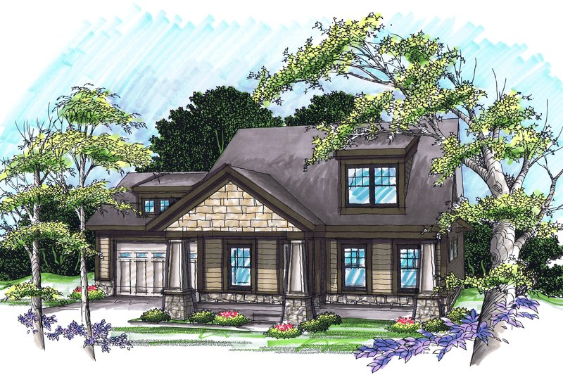 Craftsman Exterior - Front Elevation Plan #70-1021