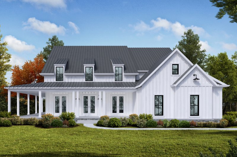 Farmhouse Style House Plan - 4 Beds 5 Baths 3261 Sq/Ft Plan #54-379 Exterior - Front Elevation