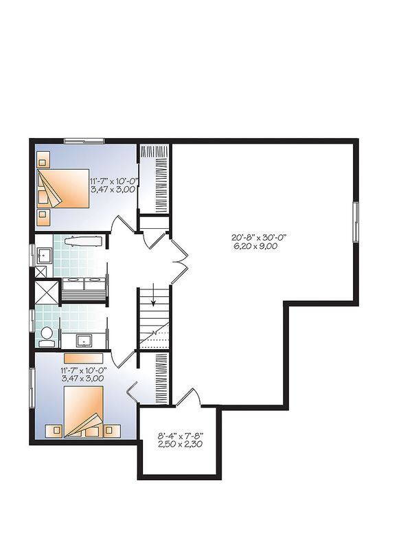 Country Floor Plan - Lower Floor Plan Plan #23-2613
