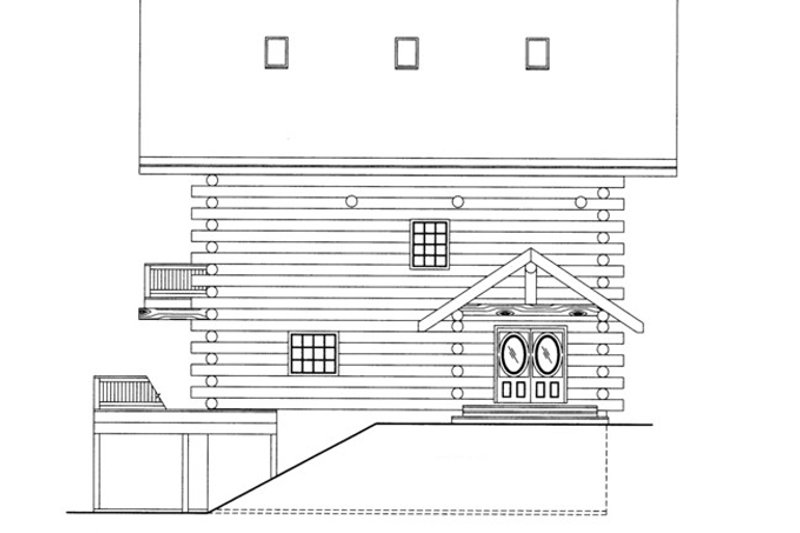 Log Exterior - Front Elevation Plan #117-825