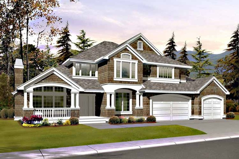 Architectural House Design - Craftsman Exterior - Front Elevation Plan #132-407
