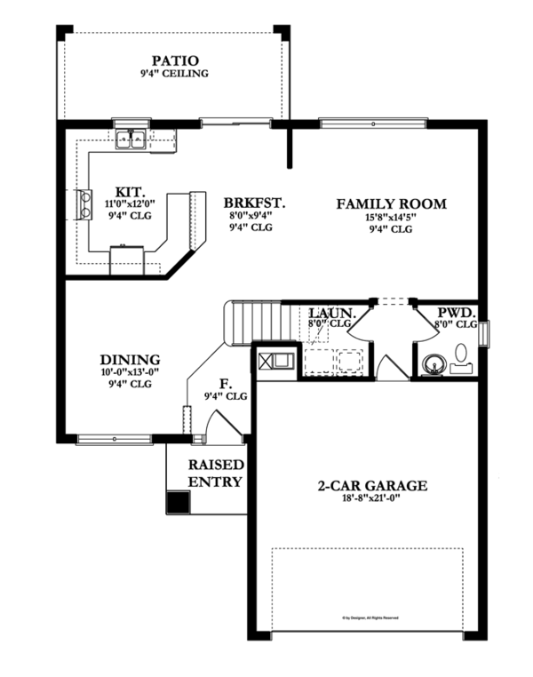 Craftsman Floor Plan - Main Floor Plan Plan #1058-20