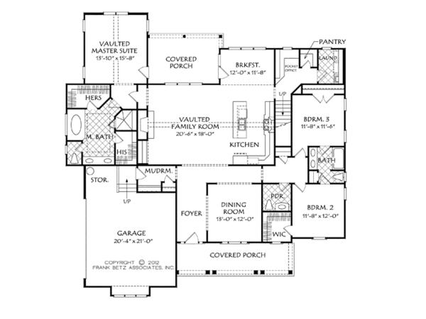 Craftsman Floor Plan - Main Floor Plan Plan #927-954